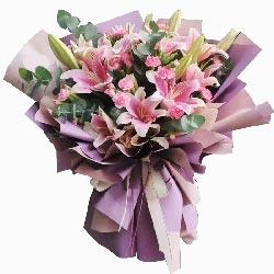 6支粉色多头百合康乃馨,永远爱你们