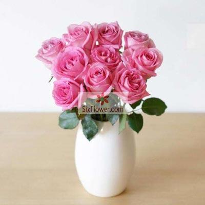 10朵戴安娜粉玫瑰瓶插花,真心的祝福