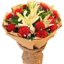 12朵红色康乃馨,2支百合,爱的怀抱