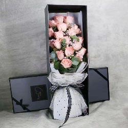 18朵戴安娜粉玫瑰礼盒,爱你到永远