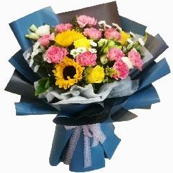 10朵粉色康乃馨玫瑰花向日葵,遥祝亲人节日快乐