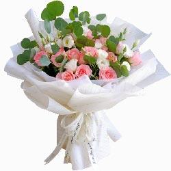 19朵戴安娜粉玫瑰桔梗,只想要你