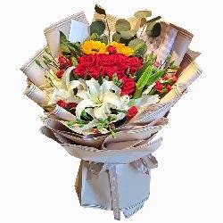 11朵红玫瑰,3支白色多头百合,美好的明天