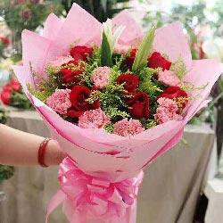 9朵红玫瑰,9朵粉色康乃馨,爱你爱家
