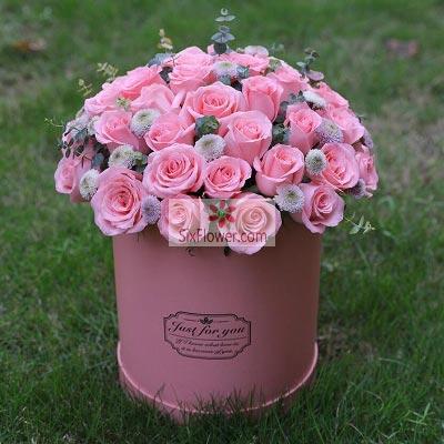33朵戴安娜粉玫瑰圆桶装,我爱上了你