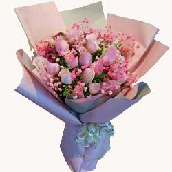 17朵戴安娜粉玫瑰,一辈子在一起