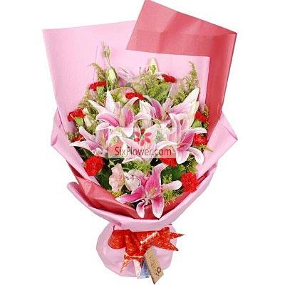 11朵红色康乃馨,3支粉色多头百合,幸福安康