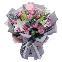 33朵紫玫瑰百合,遇见你的好