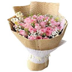 29朵戴安娜粉玫瑰满天星,相思之喜