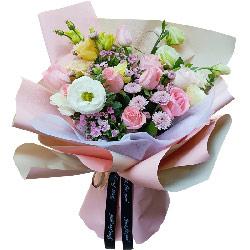 11朵戴安娜粉玫瑰桔梗,与君长相伴
