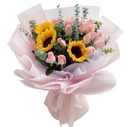 18朵戴安娜粉玫瑰向日葵,生活吉祥