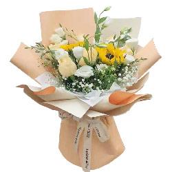 6朵香槟玫瑰桔梗向日葵,幸福无限