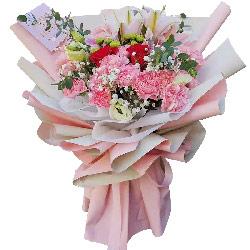 18朵粉色康乃馨红玫瑰百合,生活更幸福