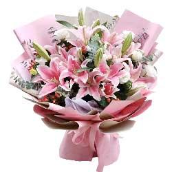 9支粉色多头百合桔梗,祝福送给你