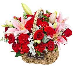 16朵红玫瑰红色康乃馨,今世的你幸福