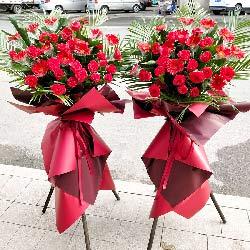 红色扶郎玫瑰花三脚架开业花篮,万事如意