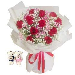11朵红玫瑰满天星,一世美好的爱情