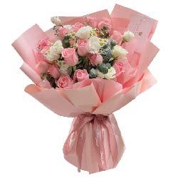 16朵戴安娜粉玫瑰,一生的时候去爱你