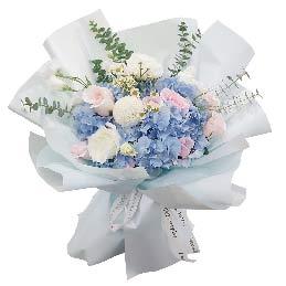 9朵戴安娜粉玫瑰3朵白玫瑰,用心来爱你