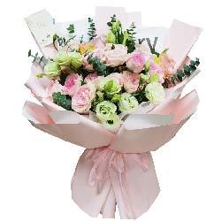 12朵粉玫瑰桔梗,你是我生命的全部
