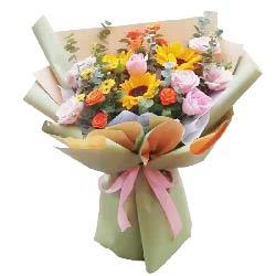 9朵戴安娜粉玫瑰向日葵,特别的问候