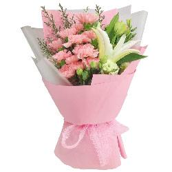 12朵粉色康乃馨百合桔梗,心中永远眷恋您