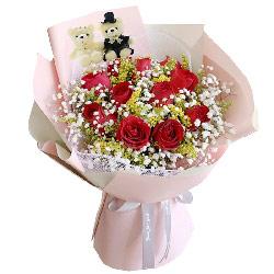 11朵红玫瑰满天星小熊,爱上了你