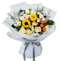 11朵香槟玫瑰向日葵桔梗,我的幸福
