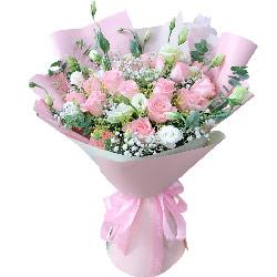 16朵戴安娜粉玫瑰桔梗,爱的彩虹