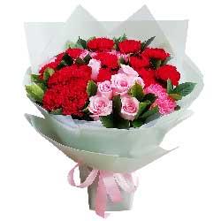 22朵康乃馨粉玫瑰,愿您幸福永久