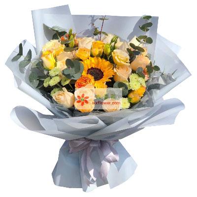 11朵香槟玫瑰,1朵向日葵,一起…