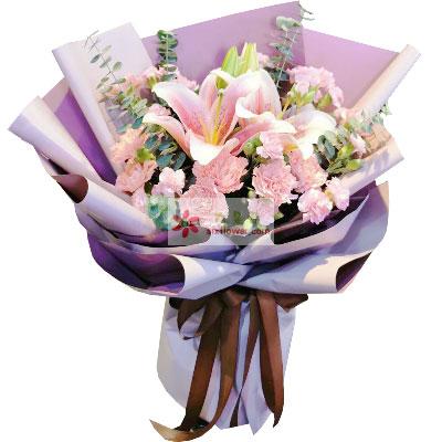 20朵粉色康乃馨百合,平安是福