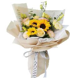 6朵香槟玫瑰,3朵向日葵,幸福的生活是永远