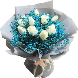10朵白玫瑰满天星花束,亲爱的开心
