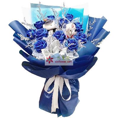 11朵蓝玫瑰,给你温暖的爱