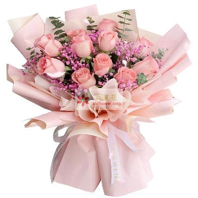 11朵戴安娜粉玫瑰,心心相印的甜蜜