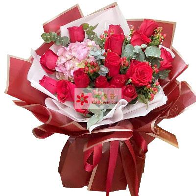 19朵红玫瑰绣球花,让爱情绽放