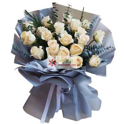 19朵香槟玫瑰,爱的深情