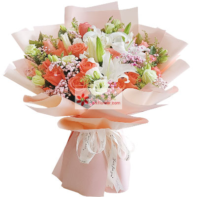 19朵粉玫瑰,2支白色多头百合,最真的爱与思念