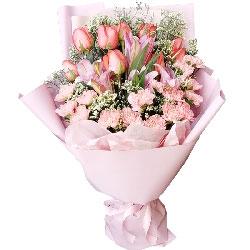 9朵粉玫瑰,16朵粉色康乃馨,开心和健康最重要