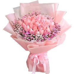 33朵戴安娜粉玫瑰,盛载你的心