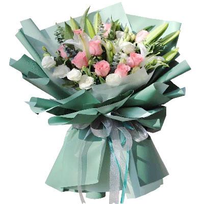 9朵戴安娜粉玫瑰,只因你