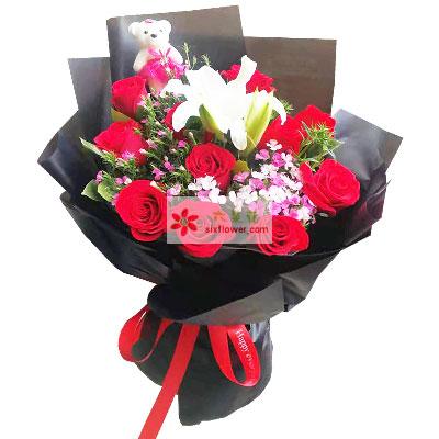 11朵红玫瑰,1支白色多头百合,情真意切