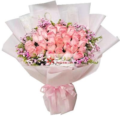 29朵戴安娜粉玫瑰,一生一世不分…