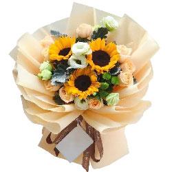 9朵香槟玫瑰,3朵向日葵,谢谢您给我生命