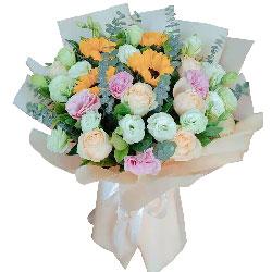 4朵向日葵,9朵香槟玫瑰,梦想随想到