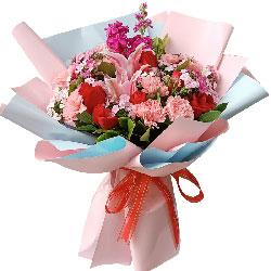 11朵粉色康乃馨,6朵红玫瑰,幸福到永久