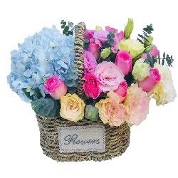 11朵粉玫瑰绣球花桔梗花篮,开心和健康最重要