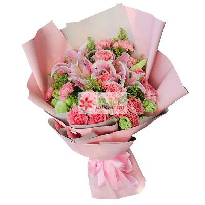 29朵粉色康乃馨百合,一年到头常乐