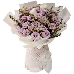 21朵紫玫瑰,此生与你在一起